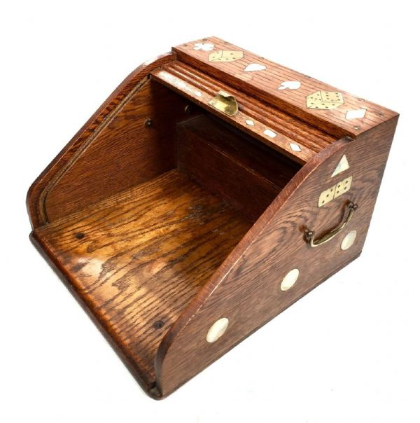 Antique Oak Tambour Fronted Roll Top Card Games Storage Box / Tabletop Cabinet